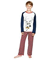 Cotton Rich Raglan Sleeve Stag & Striped Pyjamas
