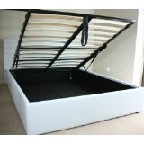 White Double 4ft6 Faux Leather Ottoman Bed by House2Home