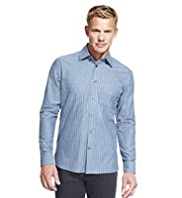 Blue Harbour Luxury Pure Cotton Double Striped Shirt
