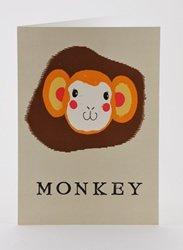 Petra Boase Paper Balloon Greeting Card - Monkey front-924026