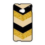 Aztec Series Chevron Design Gold Black Bling (No Shine) Custom Luxury Cover Case with Plastic For HTC One M7(Black) (Htc Mobile Price compare prices)