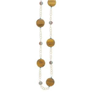 Tiger Eye, Turquoise and Enamel Bead Necklace 14K Gold Fill 36 Inches
