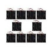 CM01 DIY Capless 4-18650 Battery Holder Cases Boxes w/ Lead Line - Black (10 PCS) Black