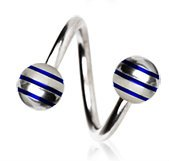 Blue Striped Balls 316L Surgical Steel Twist Spiral Belly Bar Navel Ring Body Bar