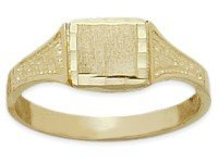 10K Yellow Gold Diamond Cut Rectangle Baby Ring