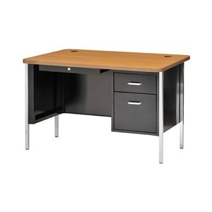"Sandusky 600 Series Steel Single Pedestal Teachers Desk with Medium Oak Top, 48"" Width x 29-1/2"" Height x 30"" Depth, Black Base"