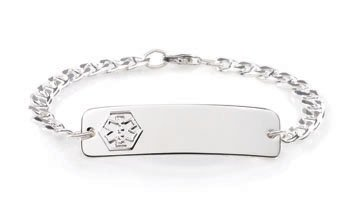 American Medical ID Sterling Silver Classic Womens or Kids Medical ID Bracelet with 7