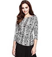 Petite Faux Snakeskin Print Top with StayNEW™