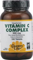 Country Life Vitamin C Complex 500 mg (with Bioflavonoids, Rutin & Hesperidin), Tablets, 100-Count