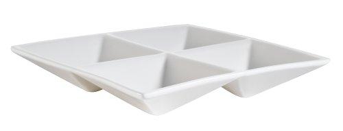 CAC China CMP-A7 Accessories 6-1/2-Inch New Bone White Porcelain 4-Compartment Square Dish, Box of 24