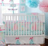 My Baby Sam Pixie Baby 3 Piece Crib Bedding Set, Aqua and Pink