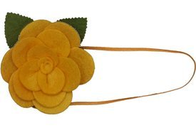 Baby Flower Headband. Stretchy for Infant, Toddler, Girl. Skinny Headband. Felt Rose Allie Yellow.