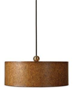 Uttermost 21894 Sonoma 3-Light Hanging Shade, Antiqued Natural Cork Over A Hard Back