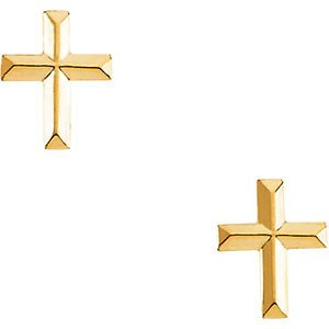 Cross Earrings 14 K Yellow Gold