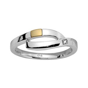 Damen-Ring Ehering Sterling Silber rhodiniert & 18 k (750) Gold Diamant/Größe 54/NEU/FranceBijoux günstig kaufen