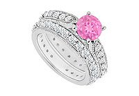 14K White Gold Pink Sapphire and Diamond Engagement Ring with Wedding Band Set 1.20 CT TGW MADE IN USA