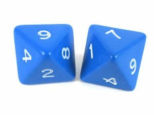Blue Jumbo Polyhedral 8 Sided Dice - Set of 2