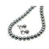 ブラック真珠 を コーティング した ガラス パール ネックレス と イヤリング SETの登場です。 当店Original ハードケース+ジェリークロスの2点を付属!( 結婚式 パーティー ドレス お葬式 喪服 ) ブラック