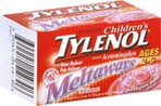 Tylenol Childrens Fever Reducer Pain Reliever 80 mg Meltaways Bubblegum Burst Flavor, 30 tablets (Pack of 3)