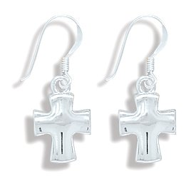 Sterling Silver Concave Polished Cross Earring