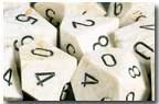 Chessex Dice: Polyhedral 7-Die Marble Dice Set - Ivory with Black