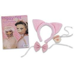 Piggy Costume Set-Includes Pig Ear, Nose, & Bow Tie - 1