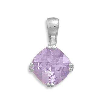 Checkerboard Cut Lavender CZ Pendant