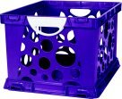 Storex 2-Color Large Crate With Handles - Purple Vine-White