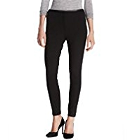 Autograph Faux Leather Trim Twill Ponte Treggings