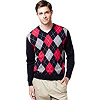 Blue Harbour Pure Cotton V-Neck Argyle Jumper