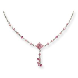 Pink Cultured Pearl Crystal CZ Dangle Necklace - 16 Inch - Lobster Claw - JewelryWeb
