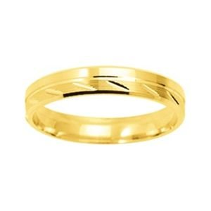 So Chic Jewels - 9k Yellow Gold 3.5 mm Fantasy Pattern Wedding Band Ring