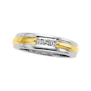 14K Yellow Gold 6.5Mm Diamond Wedding Band