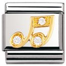 Composable Classic FUN in stainless steel , 18k gold and Cubic zirconia (CLEAR Music note)