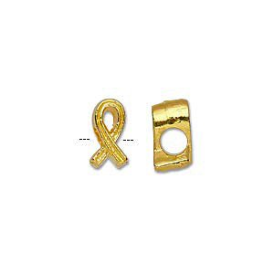 Gold Tone Awareness Ribbon Bead Charm Spacer