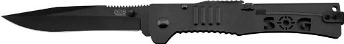 Sog Specialty Knives & Tools Sj52-Cp Slimjim Xl Knife With Straight Edge Assisted Folding 4.18-Inch Steel Blade And Bead Blasted Handle, Black Tini