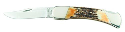 Bear & Son 597 Genuine India Stag Bone Professional Lockback Knife with Leather Sheath, 5-Inch