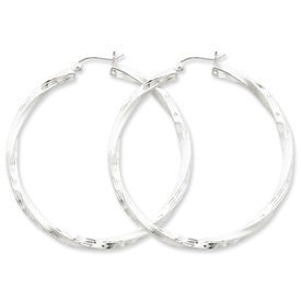 PriceRock Sterling Silver 3.00mm Polished & Satin D/C Twisted Hoop Earrings