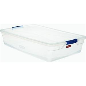 Rubbermaid 3Q2900CLMCB Storage Tote with Blueberry Frost Latch, 41 Quart, Clear