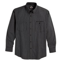 Buy Harley Davidson Mens long-sleeve Stripe ShirtNEW for 2008100% cotton yarn dye. Button front. Two chest pockets. Embroidered Harley-Davidson graphic above left chest. Dressy for work or casual, 99018-08VM