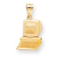 14k Diamond-Cut Computer Wiz Charm - Measures 23x13mm - JewelryWeb