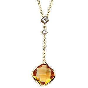 Genuine IceCarats Designer Jewelry Gift 14K Yellow Gold 14Ky W/Rhodium Genuine Checkerboard Citrine And Diamond Necklace