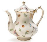Porcelain Butterfly & Dragonfly Teapot Trimmed In Gold (Teapot 32 Oz compare prices)