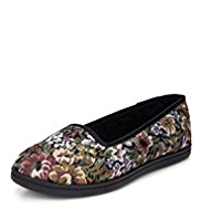 M&S Collection Floral Tapestry Slippers