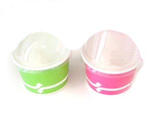 [ Momoka's Apron ] 96 ct. Ice Cream Paper Cup (4 oz) & Clear Dome Lids Set: Pink & Green