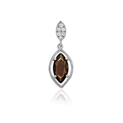 Cute Necklace Pendant Jewelry Sterling Silver Plated Small Clear CZ Marquise w/ Hanging Brown Topaz Marquise CZ Design(WoW !With Purchase Over $50 Receive A Marcrame Bracelet Free)