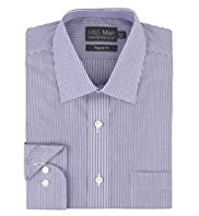 2in Shorter Cotton Rich Easy to Iron Bengal Striped Shirt