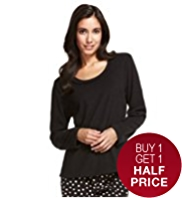 Lace Trim Fleece Pyjama Top