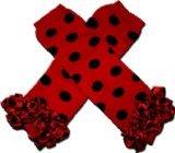 "Christmas Red & Black Ladybug Polkadot Ruffles Tutu Chiffon Ruffles - Baby Leggings/Leggies/Leg Warmers For Cloth Diapers - Girls & One Size By ""Bububibi front-1017982"