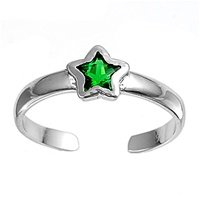 Sterling Silver Fashion Toe Ring - Star with Emerald CZ - 2mm Band Width